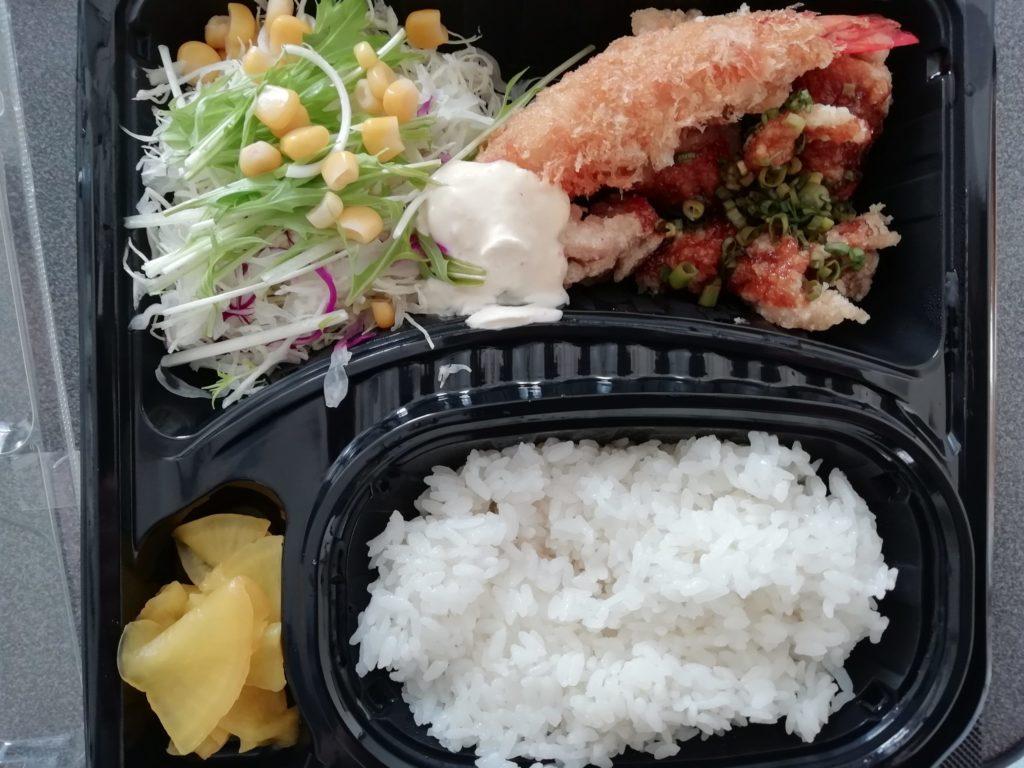 ジョイフル 唐揚げ黒酢あんかけ&えびフライ弁当