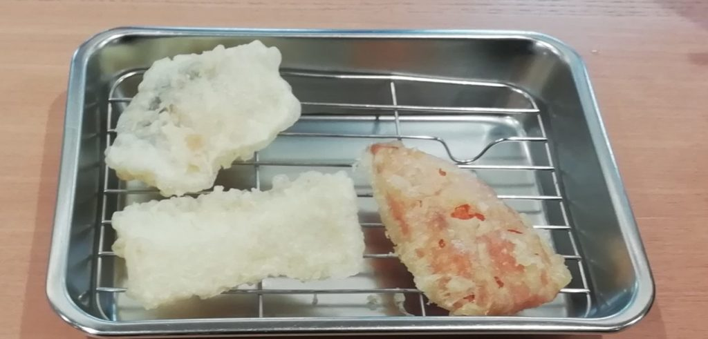 まる喜定食 人参 イカ 白身魚